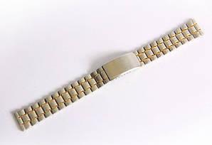 Браслет стальной Nobrand для наручных часов комбинированный (серебро , золото), 18 мм