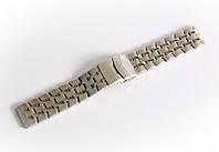 Браслет стальной Nobrand для наручных часов, двойной замок с фиксатором, серебряный, 20 мм