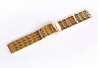 Браслет стальной Nobrand для наручных часов, двойной замок с фиксатором, золотой, 20 мм
