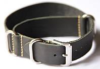 Ремешок кожаный Bros NATO Straps (Италия) для наручных часов, черный, 22 мм