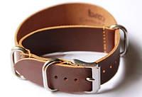 Ремешок кожаный Bros NATO Straps (Италия) для наручных часов, коричневый, 22 мм