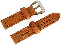Ремешок кожаный Banda (Италия) для наручных часов с классической застежкой, коричневый, 20 мм