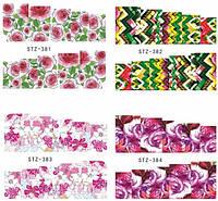 Водные наклейки цветы, слайдер дизайн, 4 листа STZ 381-384