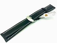 Ремешок кожаный Hightone HT-295 для наручных часов с классической застежкой, черный, 18x16 мм