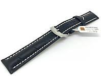 Ремешок кожаный Hightone HT-305 для наручных часов с классической застежкой, черный, 18x16 мм