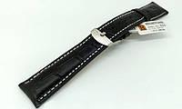 Ремешок кожаный Hightone HT-323 для наручных часов с классической застежкой, черный, 19x16 мм