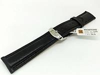 Ремешок кожаный Hightone HT-334 для наручных часов с классической застежкой, черный, 20x18 мм