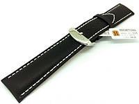 Ремешок кожаный Hightone HT-335 для наручных часов с классической застежкой, черный, 20x18 мм