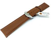 Ремешок кожаный Hightone HT-336 для наручных часов с классической застежкой, коричневый, 20x18 мм