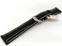 Ремешок кожаный Hightone HT-342 для наручных часов с классической застежкой, черный, 20x16 мм