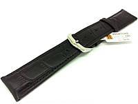 Ремешок кожаный Hightone HT-346 для наручных часов с классической застежкой, черный, 20x18 мм