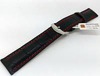 Ремешок кожаный Hightone HT-350 для наручных часов с классической застежкой, черный, 20x18 мм