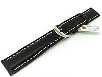 Ремешок кожаный Hightone HT-358 для наручных часов с классической застежкой, черный, 20x18 мм