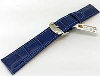 Ремешок кожаный Hightone HT-360 для наручных часов с классической застежкой, синий, 20x18 мм