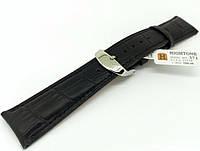 Ремешок кожаный Hightone HT-372 для наручных часов с классической застежкой, черный, 21x18 мм