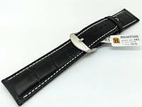 Ремешок кожаный Hightone HT-381 для наручных часов с классической застежкой, черный, 22x20 мм