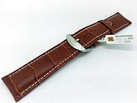 Ремешок кожаный Hightone HT-383 для наручных часов с классической застежкой, коричневый, 22x20 мм
