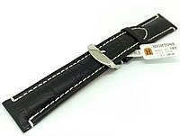 Ремешок кожаный Hightone HT-389 для наручных часов с классической застежкой, черный, 22x20 мм