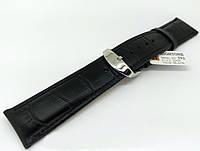 Ремешок кожаный Hightone HT-392 для наручных часов с классической застежкой, черный, 22x20 мм