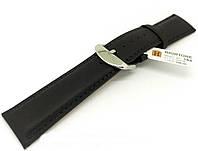 Ремешок кожаный Hightone HT-384 для наручных часов с классической застежкой, черный, 22x20 мм