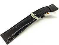 Ремешок кожаный Hightone HT-400 для наручных часов с классической застежкой, черный, 22x18 мм