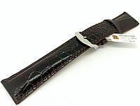 Ремешок кожаный Hightone HT-402 для наручных часов с классической застежкой, черный, 22x18 мм