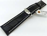 Ремешок кожаный Hightone HT-406 для наручных часов с классической застежкой, черный, 22x20 мм