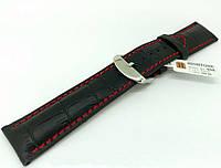 Ремешок кожаный Hightone HT-408 для наручных часов с классической застежкой, черный, 22x20 мм