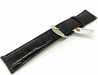 Ремешок кожаный Hightone HT-434 для наручных часов с классической застежкой, черный, 24x20 мм