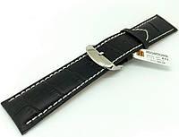 Ремешок кожаный Hightone для наручных часов с классической застежкой, черный, 24 мм