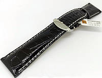 Ремешок кожаный Hightone HT-435 для наручных часов с классической застежкой, черный, 24x20 мм
