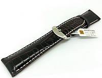 Ремешок кожаный Hightone HT-437 для наручных часов с классической застежкой, коричневый, 24x20 мм