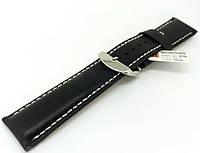 Ремешок кожаный Hightone HT-450 для наручных часов с классической застежкой, черный, 24x22 мм