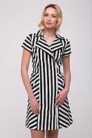 Льняное платье в полоску Line черное, фото 1