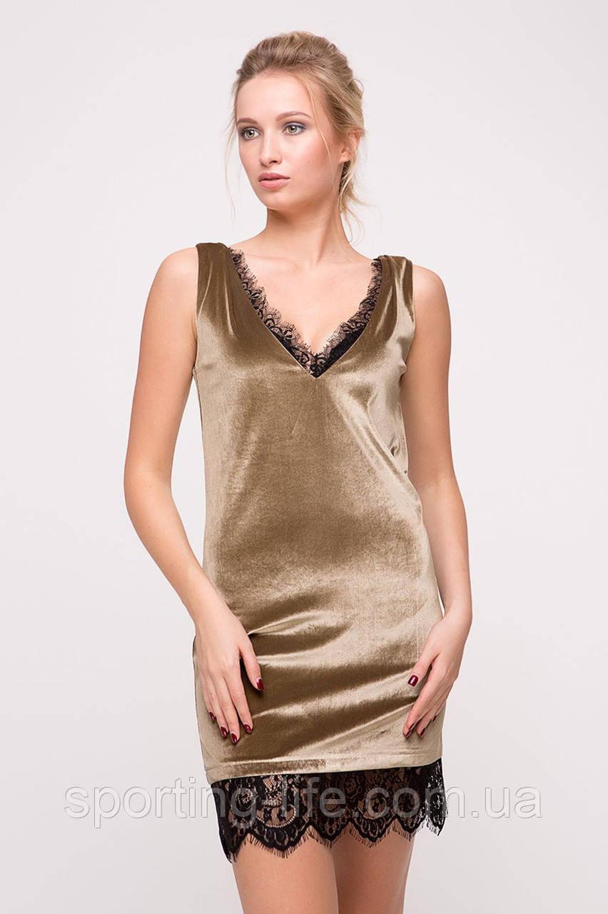Бархатное платье с кружевом Blik бежевое, фото 1