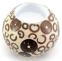 Подсвечник смола+корица белый(диаметр 7 см, высота 5.5 см)