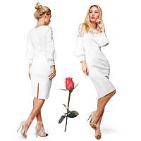 Платье из дайвинга с перфорацией  Gr  13997 Белое