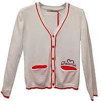 Кофта Deloras с кармашками, р. 134-164, белая с красным
