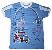 """Хлопковая футболка для мальчика с вышивкой """"Джип""""(рост от 104 до 128 см)"""