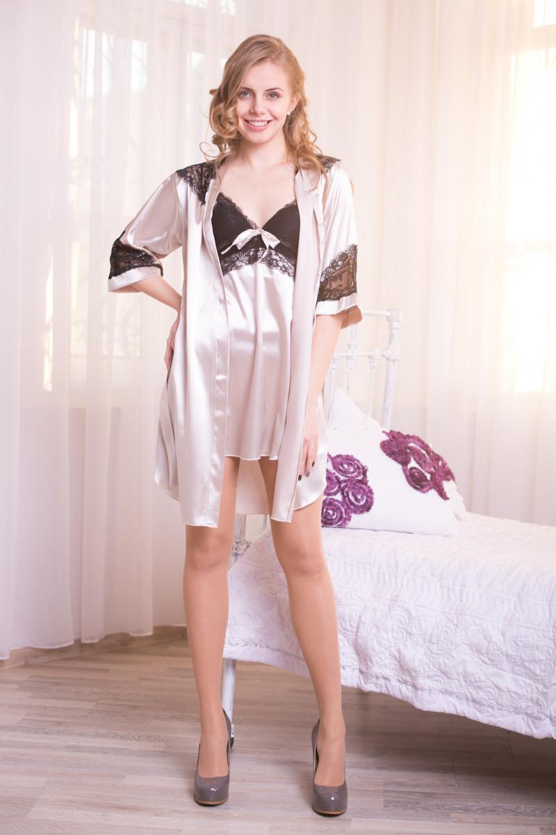 Жіночий шовковий комплект з мереживом: пеньюар+халатик. S,M,L,XL