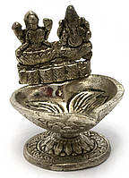 "Аромакурительница металл ""Ганеш и Лакшми"" (8,5х7,5х7 см)(Непал)"
