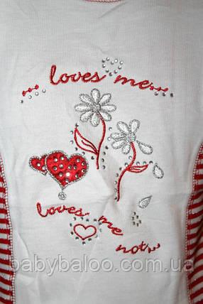 Модная футболка для девочки цветок полоска (от 92 до 110 см), фото 2