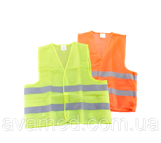 Світловідбиваючий Жилет безпеки 100 гр/м2 (Зелений / Оранжевий)