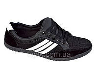 Кроссовки мокасины туфли мужские черные летние удобные Львов сетка, фото 1