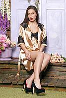 Женский шелковый комплект с кружевом: пеньюар+халатик. S,M,L,XL