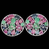 Серьги. Природный изумруд, рубин и сапфир. Серебро 925.