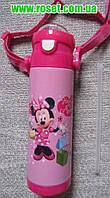 Детский термос для девочек Дисней Минни Маус (Minnie Mouse) (термос-бутылка) с поилкой, трубочкой и ремнем