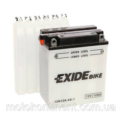 Аккумулятор для мотоцикла сухозаряженный EXIDE 12N12A-4A-1  12AH 134X80X160, фото 2