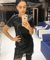 Платье трикотажное с искусственной кожей черного цвета и кружевом по низу