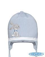 Детская шапочка для мальчика на завязках Зайка, BARBARAS (Польша)